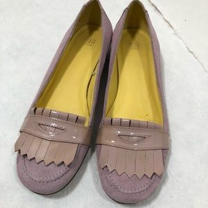 GAP patent leather suede pink tassel loafer